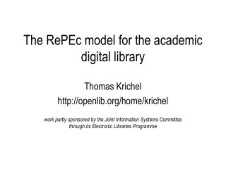 The RePEc model for the academic digital library