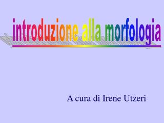 A cura di Irene Utzeri