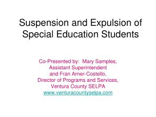 Suspension and Expulsion of Special Education Students