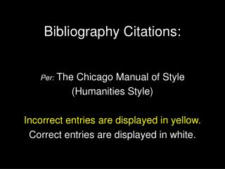 Bibliography Citations: