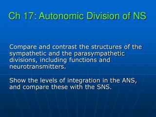 Ch 17: Autonomic Division of NS