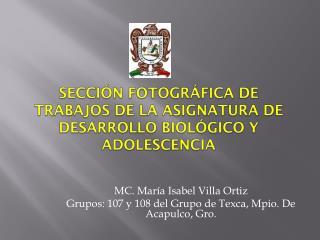 Sección fotográfica de Trabajos de la Asignatura de Desarrollo Biológico y Adolescencia