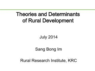 Theories and Determinants of Rural Development