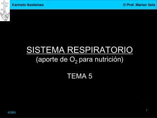 SISTEMA RESPIRATORIO (aporte de O 2  para nutrición) TEMA 5