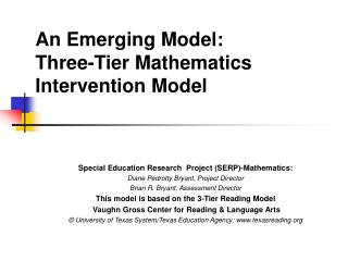 An Emerging Model: Three-Tier Mathematics  Intervention Model
