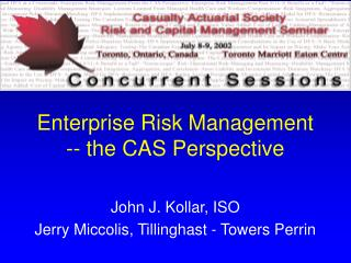 Enterprise Risk Management -- the CAS Perspective