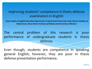 Improving students '  competence in thesis defense examination in English
