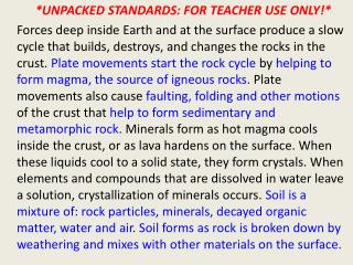 *UNPACKED STANDARDS: FOR TEACHER USE ONLY!*