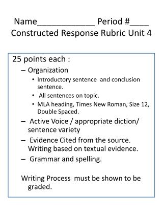 Name____________ Period #____ Constructed Response Rubric Unit 4