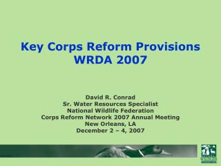 Key Corps Reform Provisions WRDA 2007