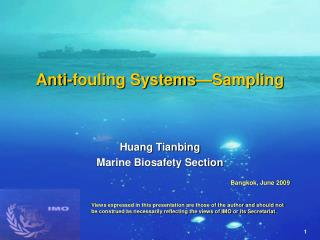 Anti-fouling Systems—Sampling