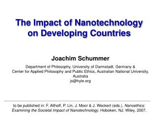 The Impact of Nanotechnology on Developing Countries