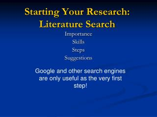 Starting Your Research: Literature Search