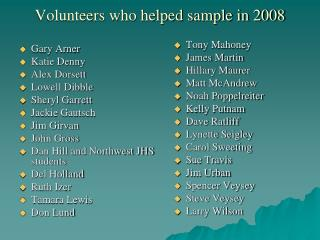 Volunteers who helped sample in 2008