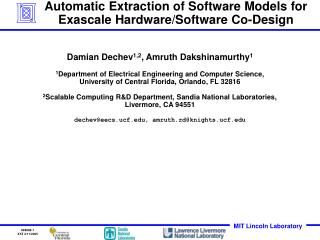 Automatic Extraction of Software Models for Exascale Hardware/Software Co-Design