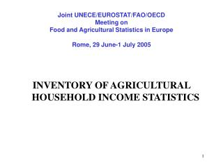 INVENTORY OF AGRICULTURAL HOUSEHOLD INCOME STATISTICS