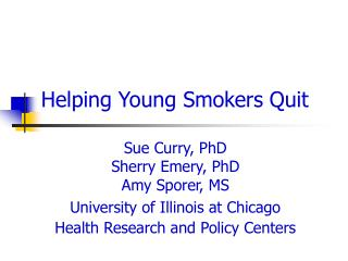 Helping Young Smokers Quit