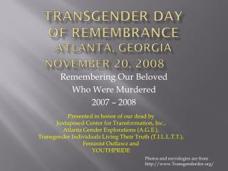 Transgender Day  of Remembrance Atlanta, Georgia  November 20, 2008