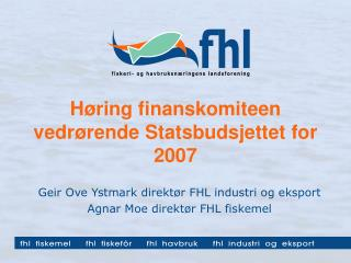 Høring finanskomiteen vedrørende Statsbudsjettet for 2007