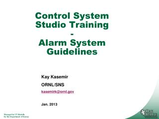 Control System Studio Training - Alarm System Guidelines