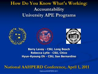 How Do You Know What's Working:  Accountability  University APE Programs
