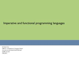 Imperative and functional programming languages