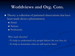 Worldviews and Org. Com.