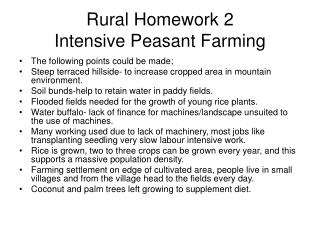 Rural Homework 2 Intensive Peasant Farming