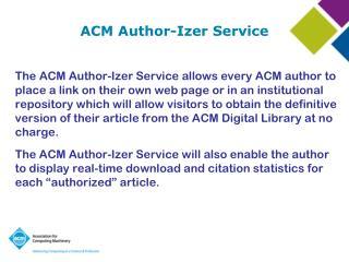 ACM  Author- Izer  Service