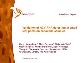 Validation of HCV-RNA detection in small test pools on cadaveric samples