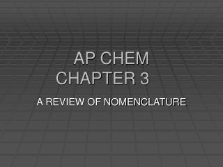 AP CHEM CHAPTER 3