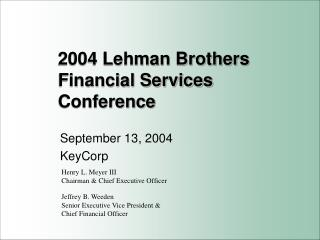 2004 Lehman Brothers Financial Services Conference