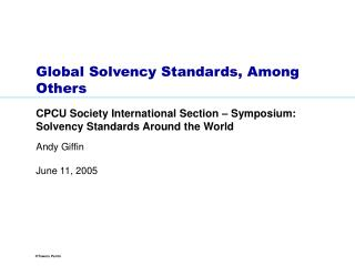 Global Solvency Standards, Among Others