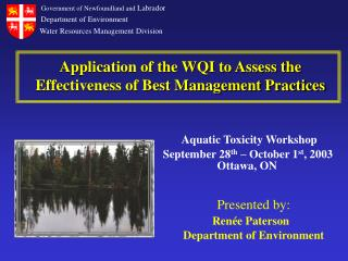 Application of the WQI to Assess the Effectiveness of Best Management Practices