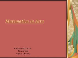 Matematica in Arta