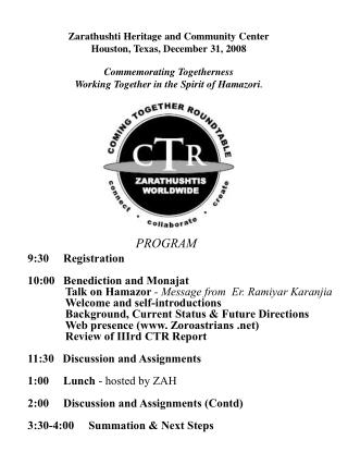 PROGRAM 9:30     Registration 10:00   Benediction and Monajat