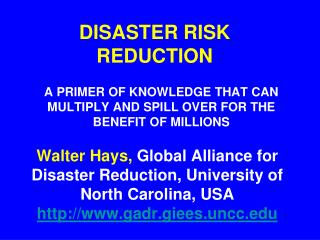 DISASTER RISK REDUCTION