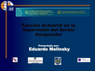 Función Actuarial en la Supervisión del Sector Asegurador Presentado por:  Eduardo Melinsky