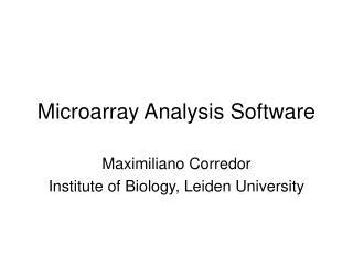 Microarray Analysis Software