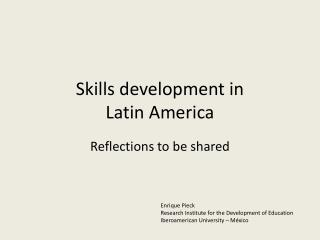 Skills development in  Latin America