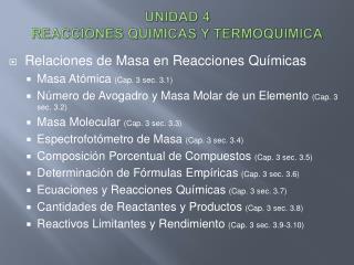 UNIDAD 4 REACCIONES QUIMICAS Y TERMOQUIMICA