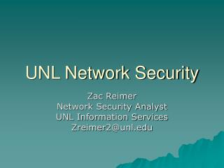 UNL Network Security