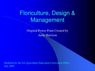 Floriculture, Design  Management