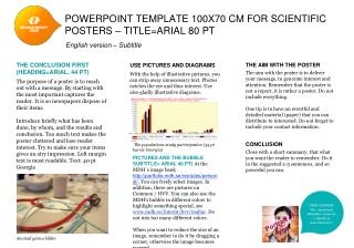 PowerPoint template  100x70 cm  for scientific  posters – title=Arial 80  pt