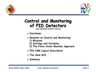 Control and Monitoring  of PID Detectors