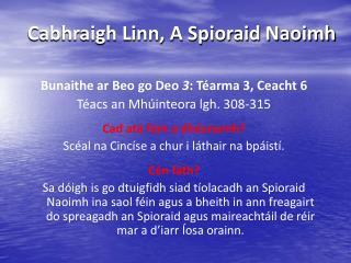Cabhraigh Linn, A Spioraid Naoimh