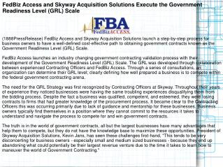 FedBiz Access and Skyway Acquisition Solutions Execute the G