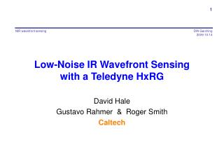 Low-Noise IR Wavefront Sensing with a Teledyne HxRG
