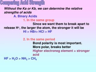 Comparing Acid Strength