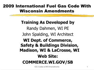 2009 International Fuel Gas Code With Wisconsin Amendments